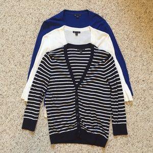Set of 3 blue/white Gap cardigans. Size M.